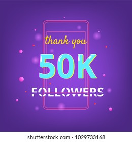 50K Followers thank you phrase with random items. Template for social media post. Glitch chromatic aberration style. Ultra violet palette colors. 50000 subscribers banner. Vector illustration.