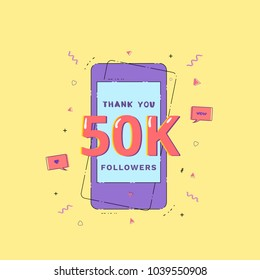 50K Followers thank you phrase with random items. Template for social media post. Glitch chromatic aberration style. 50000 subscribers vivid banner. Vector illustration.