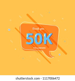 50K followers thank you post with decoration. 50000 subscribers  banner with speech bubble. Greeting card for social networks. Vector illustration.