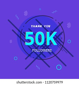50K followers thank you post with decoration. 50000 subscribers  banner with round badge. Greeting card for social networks. Vector illustration.
