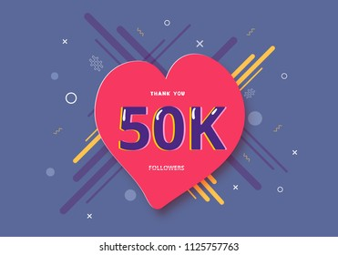 50K followers thank you post with heart shape and decoration. 50000 subscribers celebration banner. Greeting card for social networks. Vector illustration.