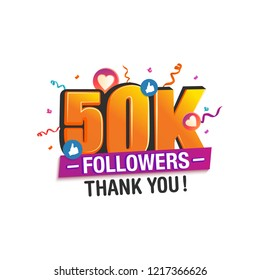 50K followers thank you post with decoration, for social media networks.