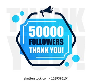 50k Followers Thank You Sign. Vector Illustration