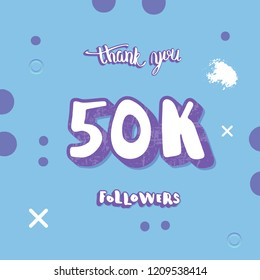 50k followers thank you social media template. Vector banner for internet networks.  50000 subscribers congratulation post.