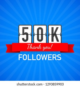50k followers, Thank You,  social sites post. Thank you followers congratulation card. Vector stock illustration.