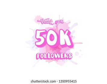 50k followers thank you social media template. Square post for internet networks. 50000 subscribers congratulation banner with watercolor splash. Vector illustration.
