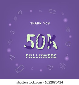 50K Followers thank you square banner. Ultra violet palette colors. Template for social media post. Handwritten letters. 50000 subscribers. Vector illustration.