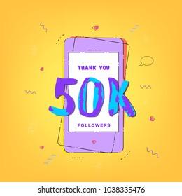 50K Followers vivid banner with phone. Template for social media. Vector illustration.