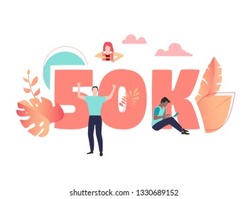 50K likes, followers, online social media banner with number and people. Vector illustration, flat style.