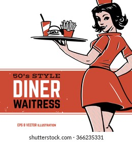 50's diner waitress. drive-in waitress. fast food concept