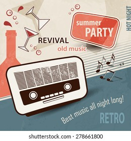 50s retro background - music poster with old radio - party invitation