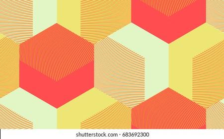 50s style geometric hexagon grid seamless tile in orange shades