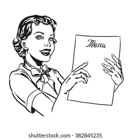 50's style waitress & Menu line art. The woman points to something on a menu & smiles