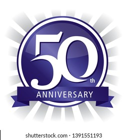 50th anniversary badge shiny purple vector
