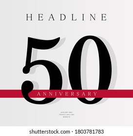 50th Anniversary banner template, journal cover design template, fiftieth jubilee release, business birthday poster, vector illustration