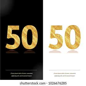 Birthday Gold Greeting 50th Anniversary Card On Black And White Backgrounds Vector Illustration