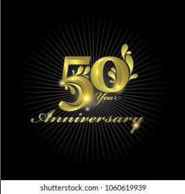 50th Anniversary Celebration. Golden Anniversary Logo with elements isolated on black background  vector design for celebration  invitation cards  and greeting cards
