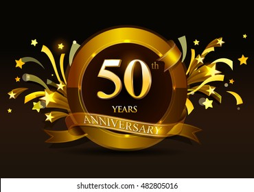 50th anniversary celebration with golden ring and ribbon