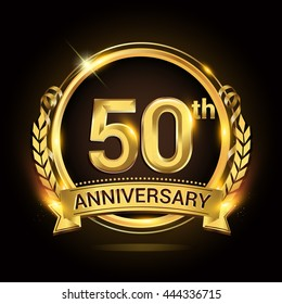 50th anniversary celebration logo with golden ring and ribbon, laurel wreath vector design.