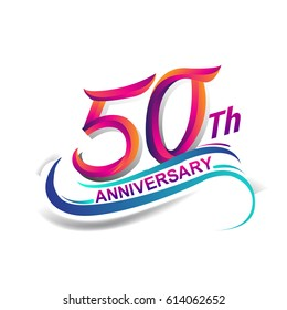 50th anniversary celebration logotype blue and red colored. fifty years birthday logo on white background.