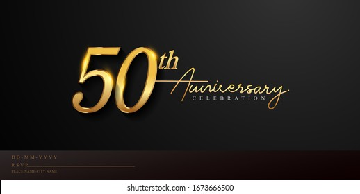 50th anniversary celebration logotype with handwriting golden color elegant design isolated on black background. vector anniversary for celebration, invitation card, and greeting card.