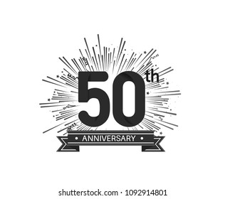 50th anniversary design with firework and ribbon black color for use company celebration