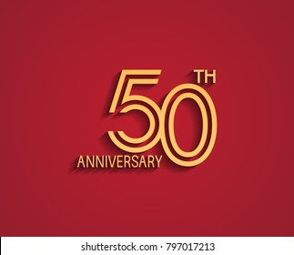 50th anniversary design logotype with line style golden color for celebration event isolated on red background