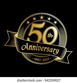 50th anniversary design template. Vector and illustration.