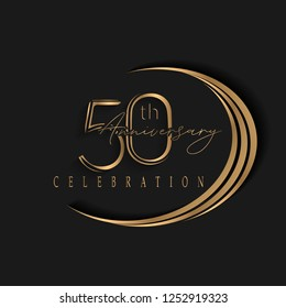 50th anniversary, design templates vector and illustrations with golden color and dark background