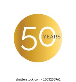 50th Anniversary gold banner template, fiftieth jubilee labels, business birthday logo, vector illustration