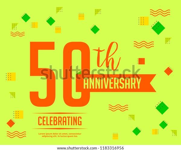 50th Anniversary Invitation Cards Template Stock Vector
