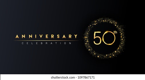 50th anniversary logo with confetti and golden glitter ring isolated on black background, vector design for greeting card and invitation card.
