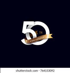 50th anniversary logo with gold ribbon. template design for web, game ,Creative poster, booklet, leaflet, flyer, magazine, invitation card