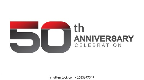 50th anniversary logo red and black design simple isolated on white background for anniversary celebration.