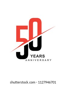 50th anniversary logo red and black swoosh design isolated on white background for anniversary celebration.