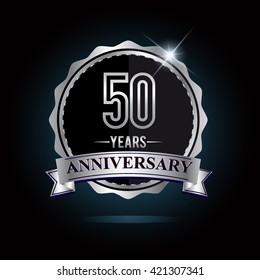 50th anniversary logo with ribbon and silver shiny badge, vector design for birthday celebration