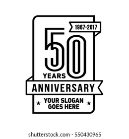 50th anniversary logo. Vector and illustration.