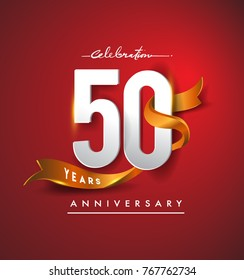 50th anniversary logotype with golden ribbon isolated on red elegance background, vector design for birthday celebration, greeting card and invitation card.