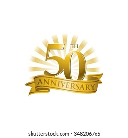 50th anniversary ribbon logo with golden rays of light