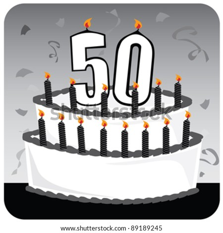 A 50th Birthday Cake With Number Candles And Black Icing