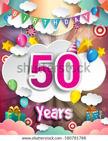 50th Birthday Celebration Greeting Card Design With Clouds And Balloons Vector Elements For The
