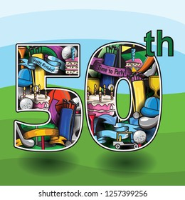 50th birthday design with a golf theme. The 50 letters containing golf graphics.