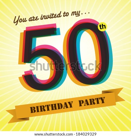 50th birthday party invite template design stock vector royalty