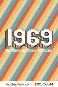 50th Birthday Retro Vintage Gift Colorful Poster