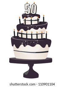 50th Brithday Clip art Cake with Black Icing and Candles