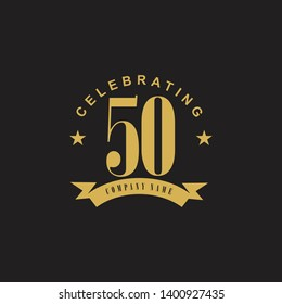 50th celebrating anniversary logo design template