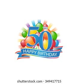 50th colorful happy birthday logo with balloons and burst of light