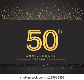 50th golden anniversary celebration logotype with confetti golden color isolated on black background, vector design for greeting card and invitation card