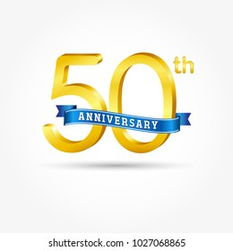 50th golden Anniversary logo with blue ribbon isolated on white background. 3d gold 50th Anniversary logo