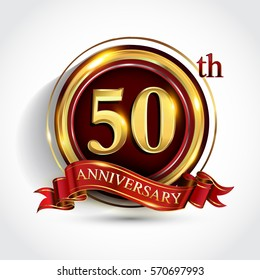 50th golden anniversary logo, fifty years birthday celebration with ring and red ribbon isolated on white background